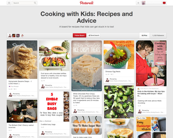 Cooking with kids Pinterest board
